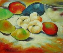 Zátiší - Zátiší s ovocem, obrazy ručně malované