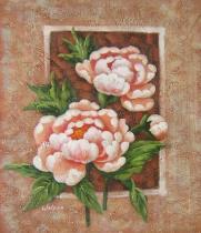 Květiny - Dvě pivoňky, obrazy ručně malované