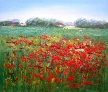 Květiny - Pole s máky, obrazy ručně malované