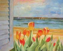 obrazy, reprodukce, Krásny kútik s tulipány