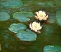 obrazy, reprodukce, Lekníny na jezeře