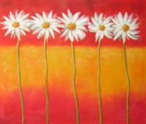obrazy do bytu - obraz Pět kopretin - obrazy ručně malované