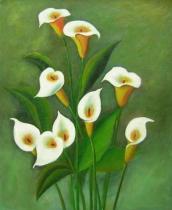 Květiny - Trošek bílé, obrazy ručně malované