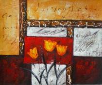 obrazy, reprodukce, Kvety v ráme