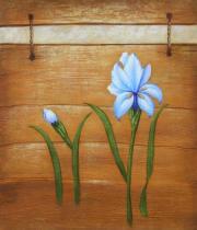 Květiny - Dva modré květy, obrazy ručně malované