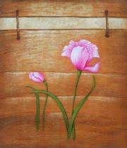 Květiny - Růžové květy, obrazy ručně malované