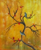 obrazy, reprodukce, Vetva s vtákmi