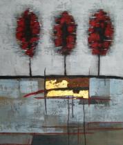 obrazy, reprodukce, Tri červené topole