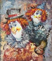 obrazy, reprodukce, Dva klauni