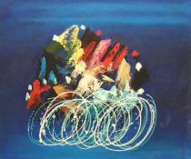 obrazy do bytu - obraz Cyklisti - obrazy ručně malované