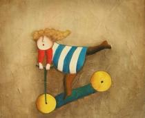 Pro děti - Dívka na koloběžce, obrazy ručně malované