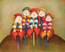 Pro děti - Výlet na kole, obrazy ručně malované
