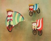 Pro děti - Děti na kolech, obrazy ručně malované