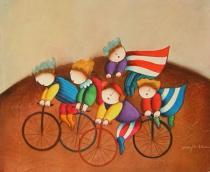 obrazy, reprodukce, Deti na bicykloch