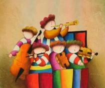 Pro děti - Symfonický orchestr, obrazy ručně malované