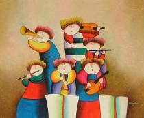 Pro děti - Veselá kapela, obrazy ručně malované