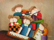 Pro děti - Malí muzikanti, obrazy ručně malované