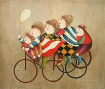 obrazy, reprodukce, Deti na kolesách