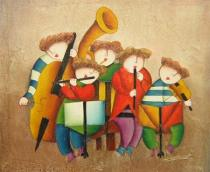 Pro děti - Hudební škola, obrazy ručně malované