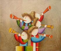 obrazy, reprodukce, Deti hrajúce na trúbku