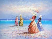 obrazy, reprodukce, Čtyři dámy u moře