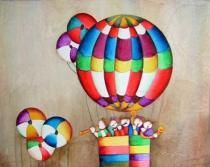 Pro děti - Děti v balónu, obrazy ručně malované