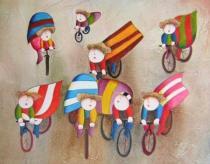 obrazy, reprodukce, Deti na bicykli