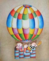 obrazy do bytu - obraz Děti v balónu - obrazy ručně malované