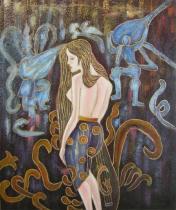 Lidé a postavy - Zamyšlená tanečnice, obrazy ručně malované