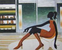 bestseler: Sedící žena v bufetu