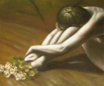 Akty - Žena s růžemi, obrazy ručně malované