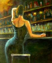 Lidé a postavy - Holka u baru, obrazy ručně malované