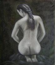Akty - Dívka s copem, obrazy ručně malované