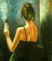 Lidé a postavy - Kouřící žena, obrazy ručně malované