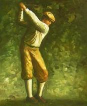 Sport a hudba - Golfista, obrazy ručně malované