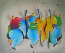 Sport a hudba - Kapela, obrazy ručně malované