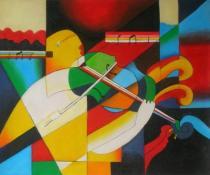 Lidé a postavy - Hra na housle, obrazy ručně malované