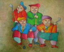 Sport a hudba - Golfisté, obrazy ručně malované
