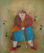 Sport a hudba - Německý golfista, obrazy ručně malované