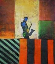 Sport a hudba - Muzikant na balkóně, obrazy ručně malované