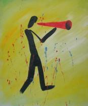 Sport a hudba - Hlásající muž, obrazy ručně malované