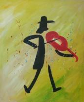 Sport a hudba - Houslista, obrazy ručně malované