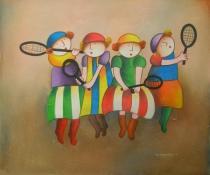 obrazy do bytu - obraz Děti s pálkami na tenis - obrazy ručně malované