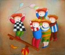 Pro děti - Šťastné dětství, obrazy ručně malované