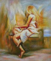 Akty - Sedící dívka, obrazy ručně malované