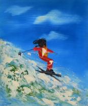 Sport a hudba - Horský lyžař, obrazy ručně malované