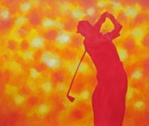 Sport a hudba - Obrys golfisty, obrazy ručně malované