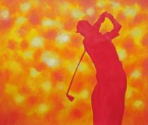 obrazy, reprodukce, Obrys golfistov