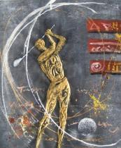 Sport a hudba - Zlatý golfista, obrazy ručně malované