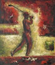 Sport a hudba - Červený golfista, obrazy ručně malované